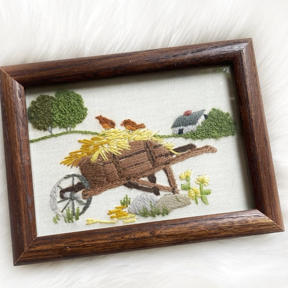 Vintage Embroidered Photo With Wood Frame